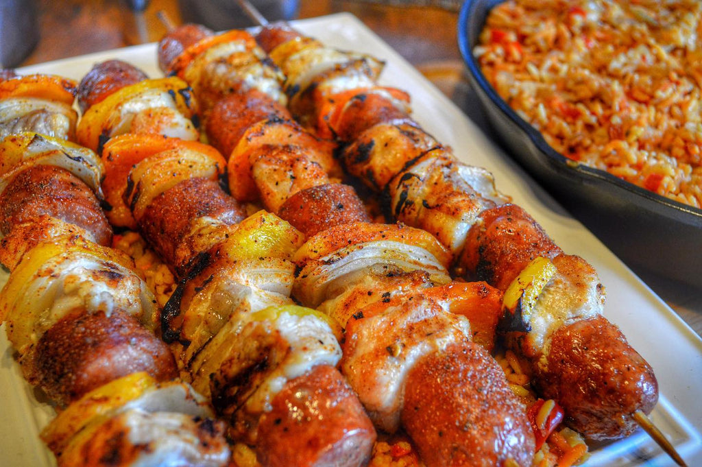 Jambalaya Kebabs with Cast Iron Dirty Rice