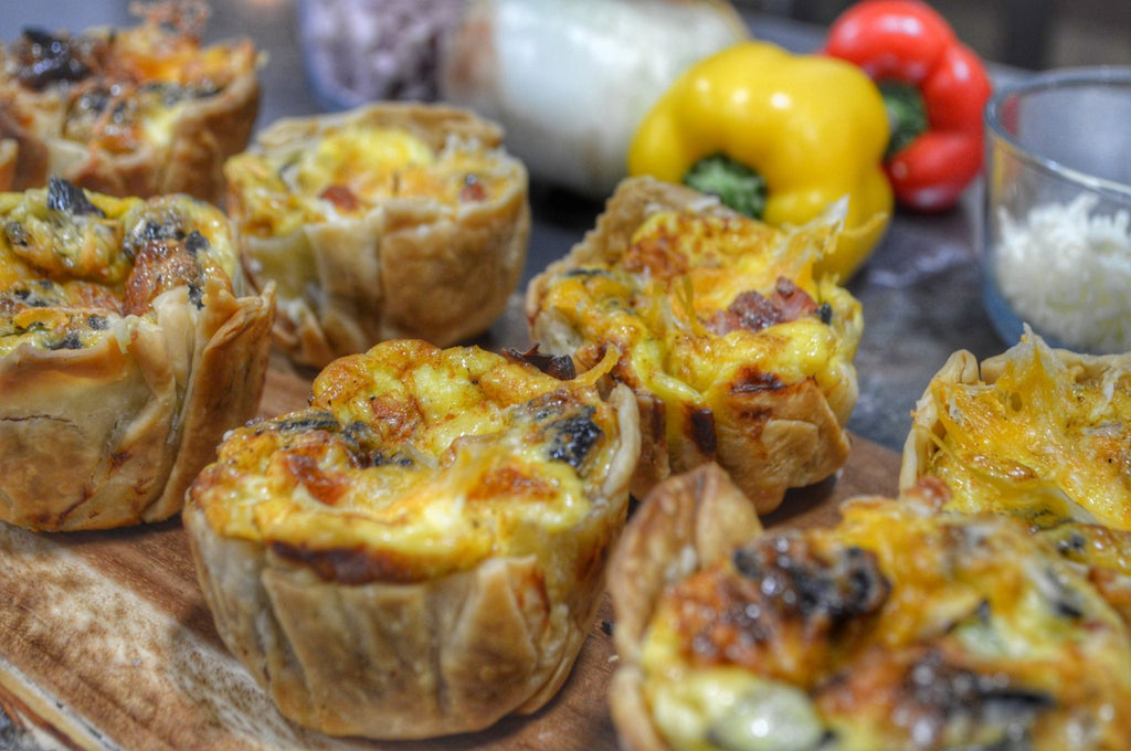 Grilled Mini Quiche with Hamsteak and Veggies.