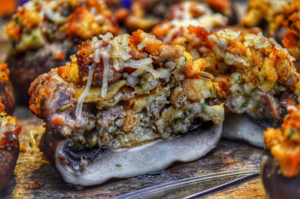 Appetizers:  Sausage Stuffed Mushrooms