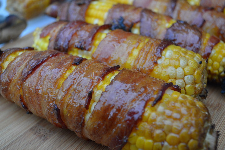 Bacon-Wrapped Coconut Curry Corn on the Cob