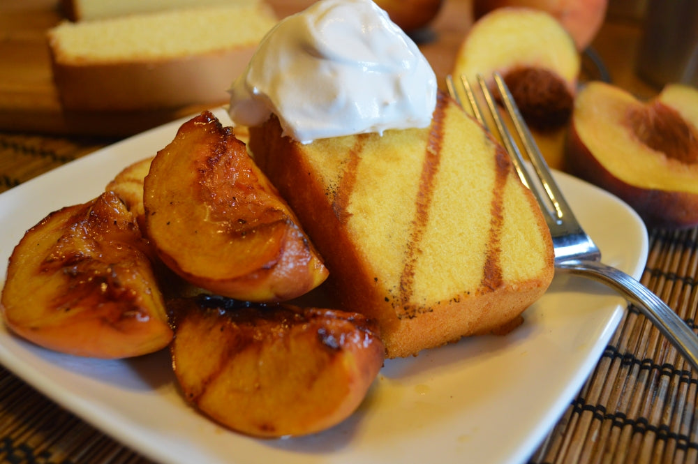 Grilled Pound Cake with Moscato-Glazed Peaches
