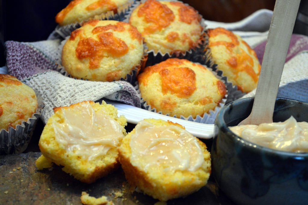 Smoked Cheddar Corn Muffins with Spicy Whipped Honey Butter