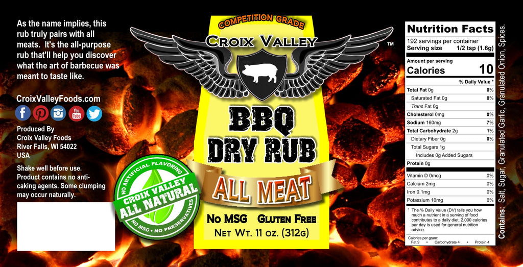 Croix Valley All Meat BBQ Dry Rub Label