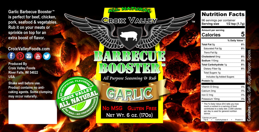 Croix Valley Garlic Barbecue Booster Dry Rub & Seasoning Label