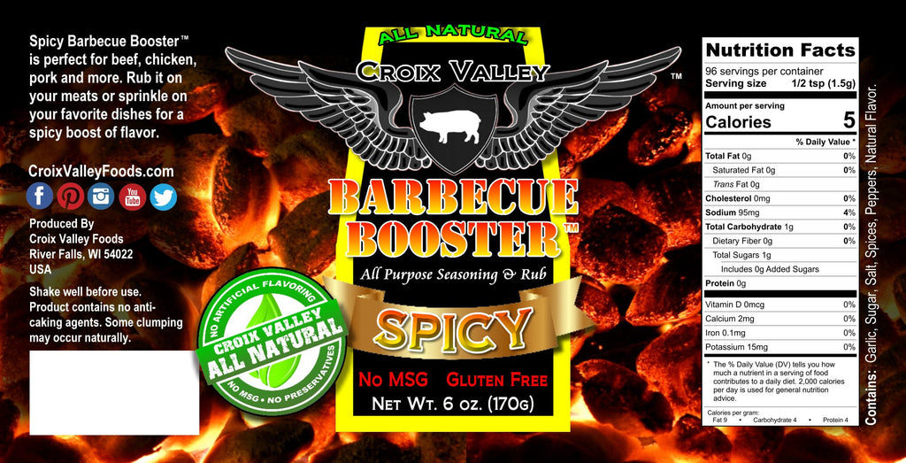 Croix Valley Spicy Barbecue Booster BBQ Dry Rub & Seasoning Label