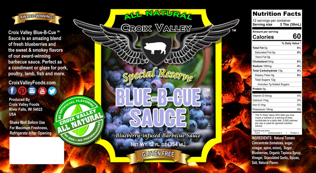 Croix Valley Blue-B-Cue™ Sauce Blueberry BBQ Sauce Label