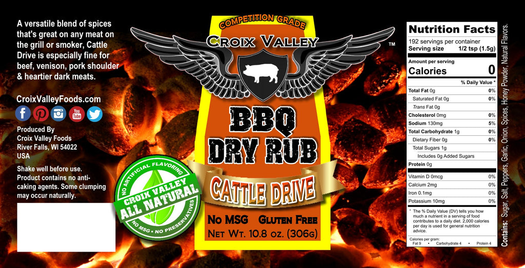 Croix Valley Cattle Drive BBQ Dry Rub Label