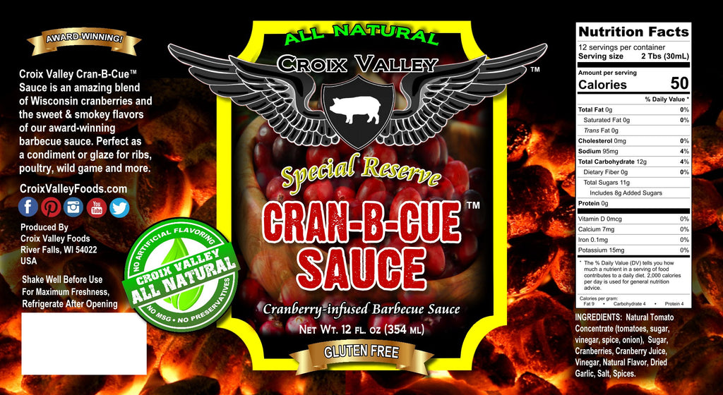 Croix Valley Cran-B-Cue™ Sauce Cranberry BBQ Sauce Label