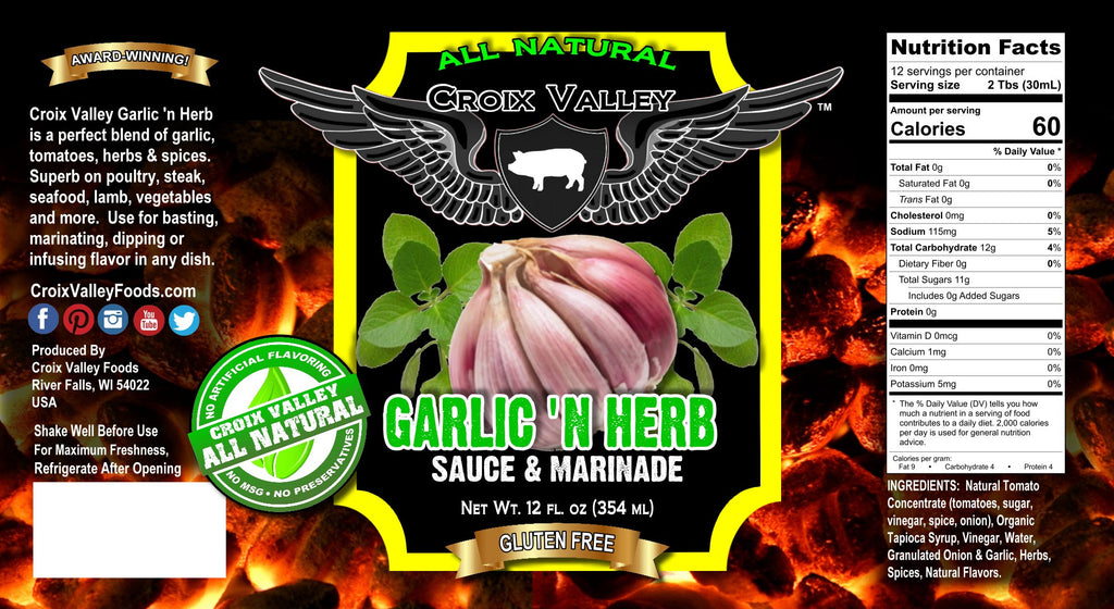 Croix Valley Garlic 'n Herb Sauce & Marinade Label