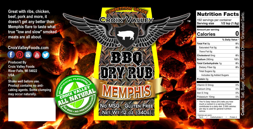 Croix Valley Memphis BBQ Dry Rub label