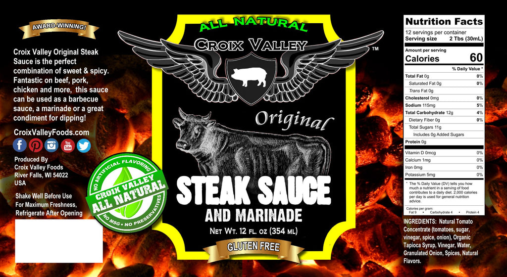 Croix Valley Original Steak Sauce & Marinade Label