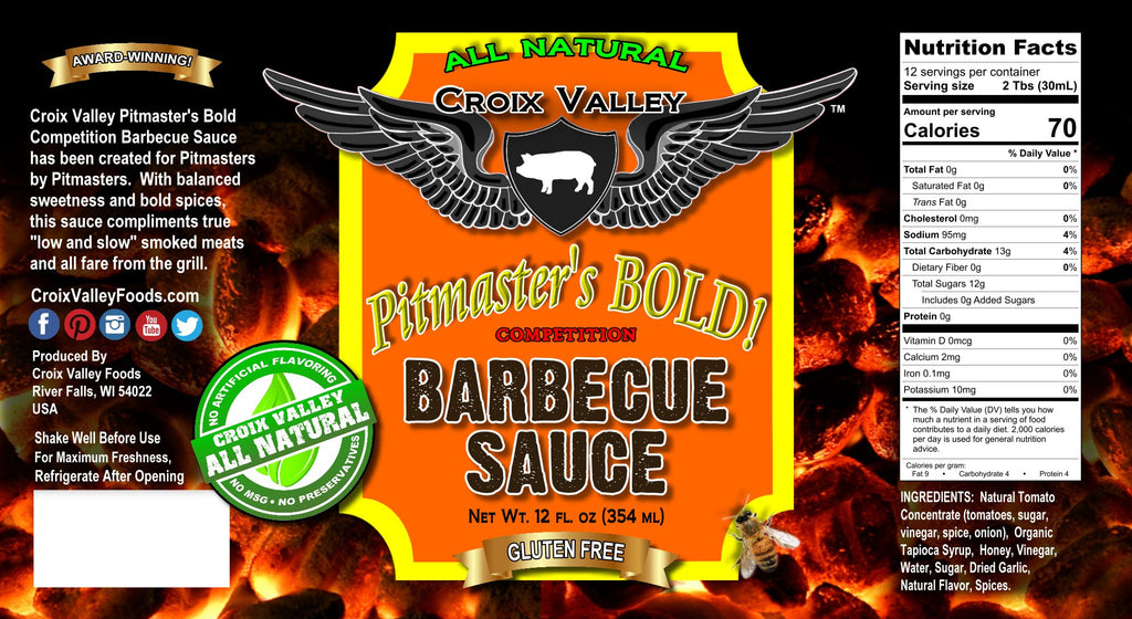 Croix Valley Pitmaster's Bold Competition Barbecue Sauce Label