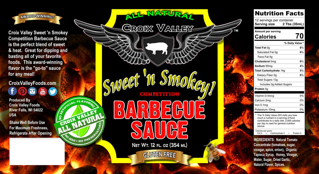 Croix Valley Sweet 'n Smokey Competition Barbecue Sauce Label