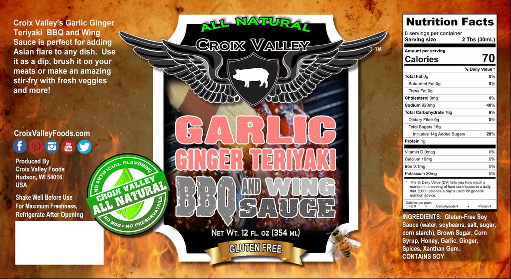 Croix Valley Garlic Ginger Teriyaki BBQ & Wings Sauce