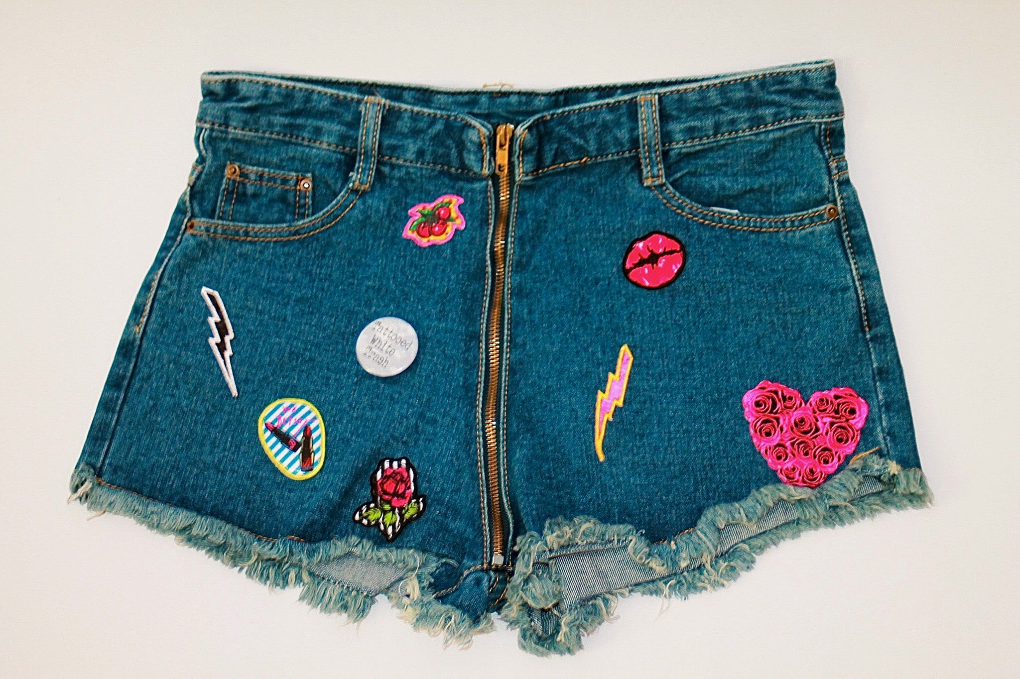 Custom 7ven x Betsey Johnson Patched Shorts #1