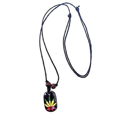 Black Cord Necklace Reggae Vibes Canna Leaf Rasta Necklace Pendant Irie 1SZ FIt