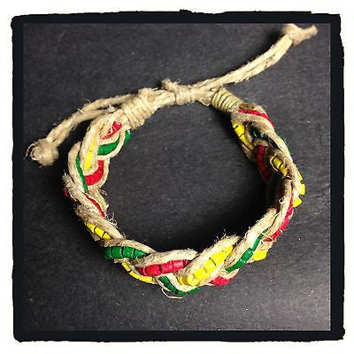 Rasta Heishi Coco With Hemp Bracelet One Love Hippie Dub Reggae Marley 2-3 mm