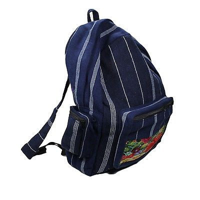 Cotton Blue Stripe Jeans Backpack Embroider Tapestry Bag Hippie Boho Cotton 15""
