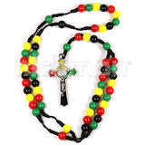 Jesus Necklace Rosary Cross With Rasta Colors Irie Jesus Necklace Rosery ROSARY