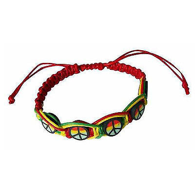 Rasta Leather Wrist Bracelet Peace One Love Hippie Negril Dub Reggae Marley RGY