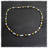 "Rasta Reggae Beads Necklace Choker Irie Style Beads Marley Reggae 18"" or 46 cm"