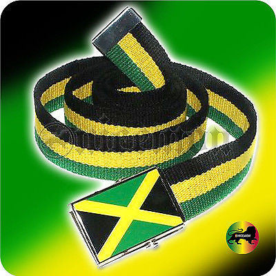Jamaica Cavas Belt Flag Buckle Rasta Rastafari Kingston Usain Marley Irie 48""