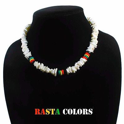 "Puka Shell Necklace Rasta Colors Choker w/Screw Clasp Hawaii Jamaica 18""/46 cm"