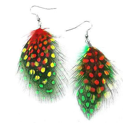 Feathered Jamaica Rasta Rastafari Empress Earrings One Love Marley Reggae NEW