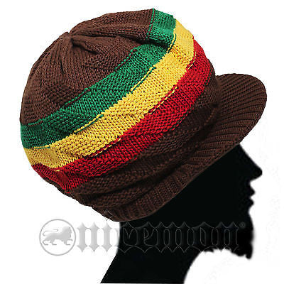 Knitting Patterns For Rasta Hats : Earthtone Cap Hat Reggae Rasta Rastafari Jamaica Sufer Cool Running Ma   nicemon