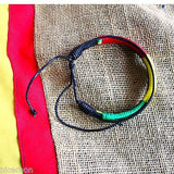 Rasta Leather Wrist Bracelet Threaded Cuff  Hawaii Surfer Irie Reggae Marley RGY