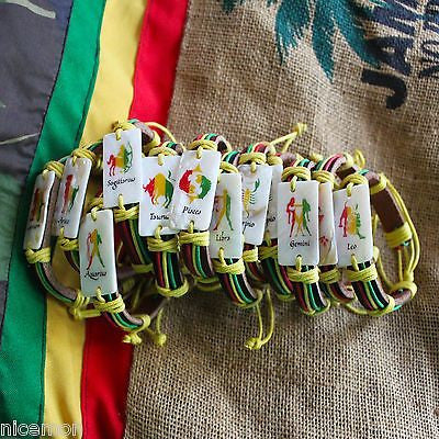 Astrological Zodiac Sign Rasta Fashion Bracelet Leather Cuff Hippie IRIE 1sz fit
