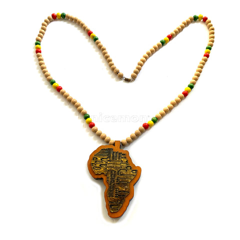 Africa Wood Necklace Large Pendant Rasta Reggae Rastafari Jamaica Bob 30""