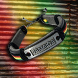 Jamaica Flag Leather Wrist Cuff Wrist Bracelet Hippie Bob Reggae One Love IRIE
