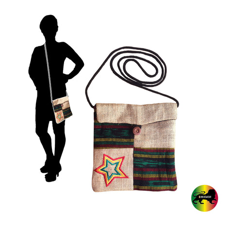 Burlap Passport String Shoulder Bag Reggae Bags Rasta Style Marley Hippie IRIE