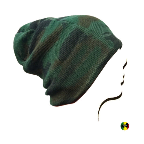Green Camouflage Beanie Tam Hat Cap Tam Long or Short 100% Acrylic 1 SZ FIT