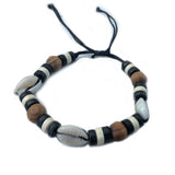 Shell Wood Beads Band Bracelet Wrist Bracelet Cuff Conscious Goods 1SZ FIT