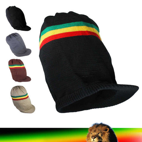 Deep Crown Rasta Peak Hat Cap Marley Jamaica Rastafari Reggae Rastafashion L/XL