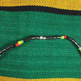 "Hematite Necklace Choker Rasta Beads Marley Reggae Jamaica Hawaii 18"" or 46 cm"