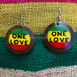 Rasta Peace Sign Coconut Earrings Royal Empress One Love Marley Reggae Jamaica NEW