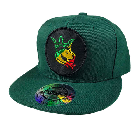 Green Reggae Rocker Lion Crown Rasta Cap Hat Flat Visor Snap Back SNAPBACK