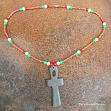 Ankh Shield Symbol Charm Pendant Rasta Color Adjustable Necklace 1 SIZE FIT