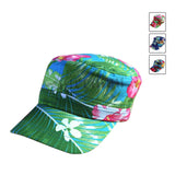 Floral Cadet Cap Cadet Military Style Hat Army Cap Jamaica Hawaii Fiji Hat 1sz Fit