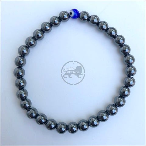 Hematite Stretch Ball Bracelet Evil Eye Protection Hippie Hobo 4mm / 5mm 1SZ