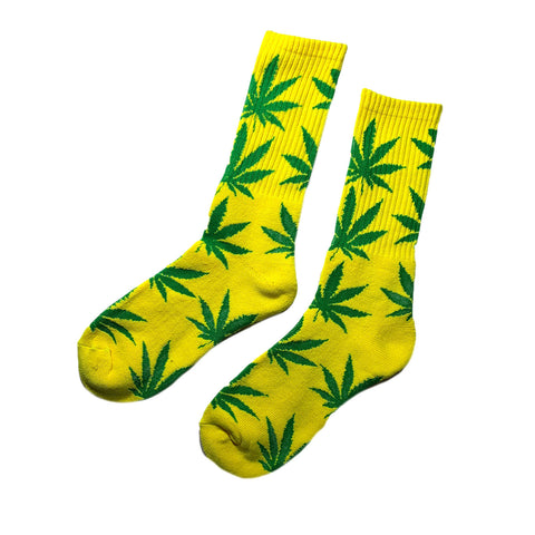 1 Pair Casual Crew Socks Multiple Colors Weed Leaf Ganja Hip Hop Rasta SZ 10-13