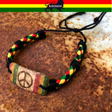 Rasta Fashion Bracelet Leather Wrist Cuff Peace Sign Emblem Jamaica Reggae IRIE