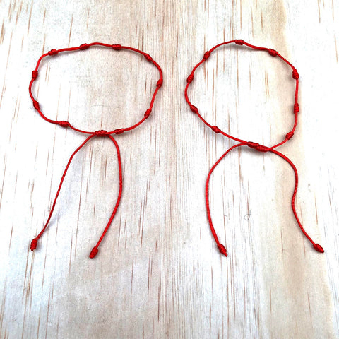Lot of 2 Knotted Red String Protection Bracelets Adjustable 1mm String