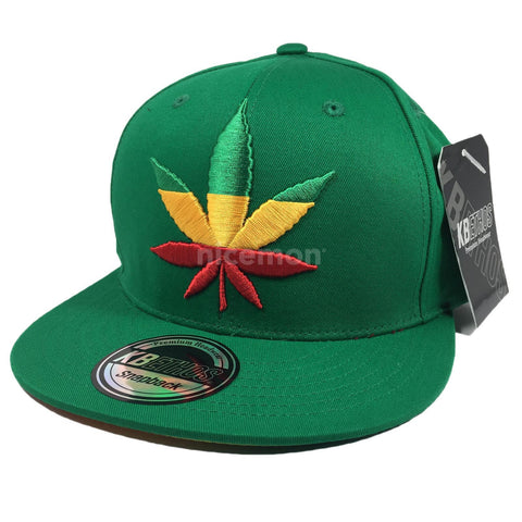 Weed Leaf Snapback Cap Hat Flat Visor Snap Back Hip Hop Hiphop Cannabis Leaf IRIE