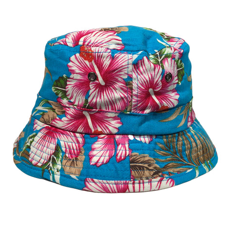 Tropical Leaf Bucket Hat Hawaii Jamaica 100% Cotton One Size Fit