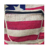 USA American Flag Shoulder Bag Burlap Handbag Sling Boho Hippie Gypsy PURSE
