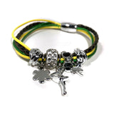 Jamaica Bahamas Rasta Dangle Charm Braided Bracelet Magnet Closure 1 SZ FIT